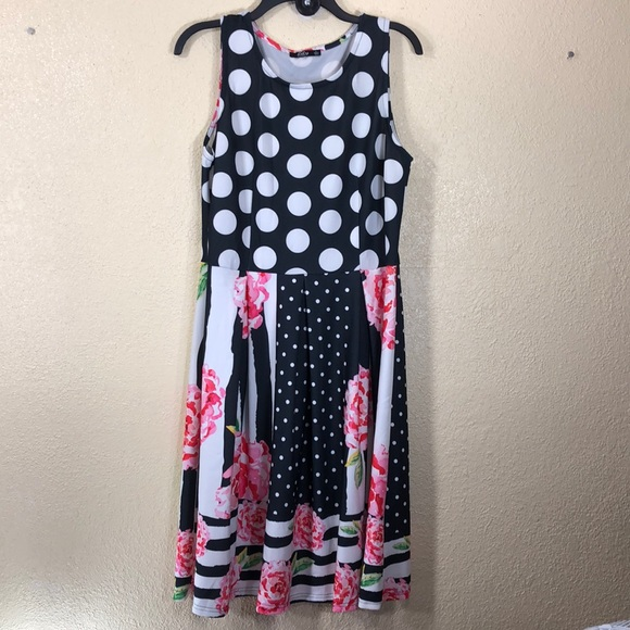 Lily By Firmiana Dresses Lily By Firmiana Dress Floral Black White L Dots Poshmark